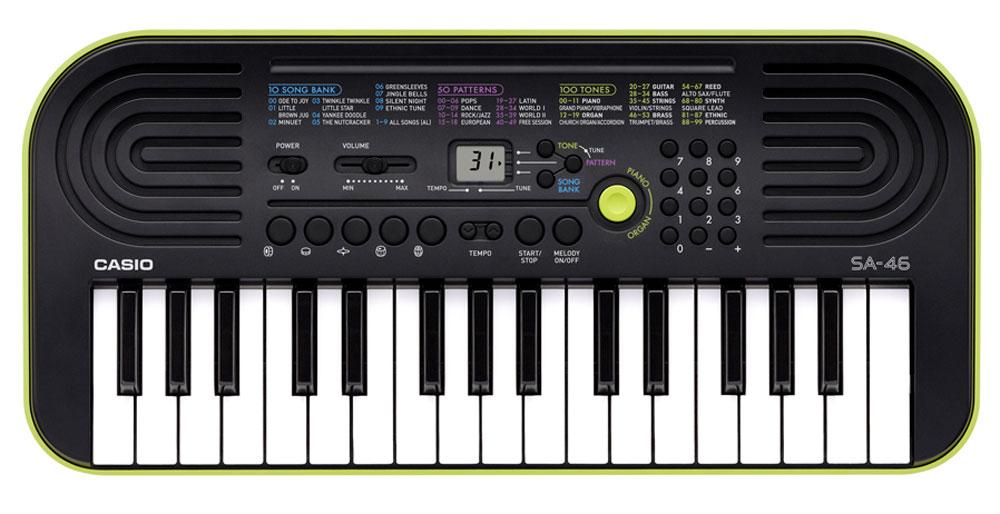 Casio SA-46, Green цифровой синтезатор синтезатор casio sa 77 44 мини клавиши 5 ударных пэдов серый