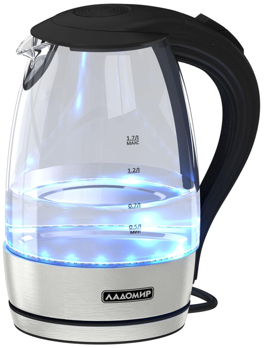 цена на Электрический чайник Ладомир 104, цвет черный серебристый