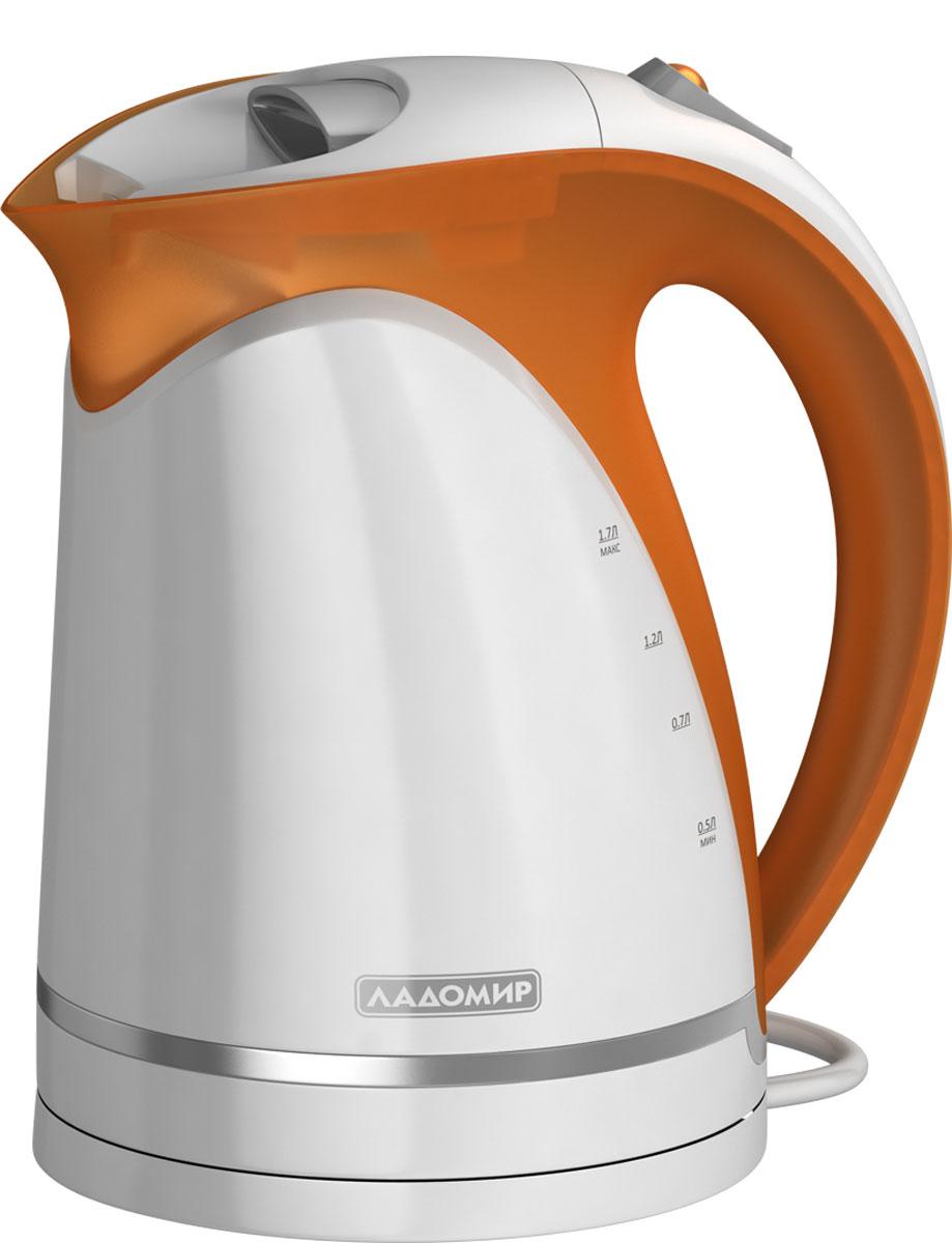 лучшая цена Электрический чайник Ладомир 324, цвет белый оранжевый