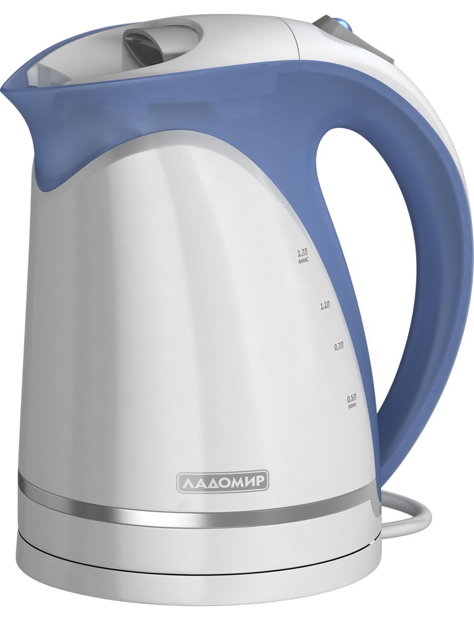 лучшая цена Ладомир 324 чайник электрический, цвет белый синий