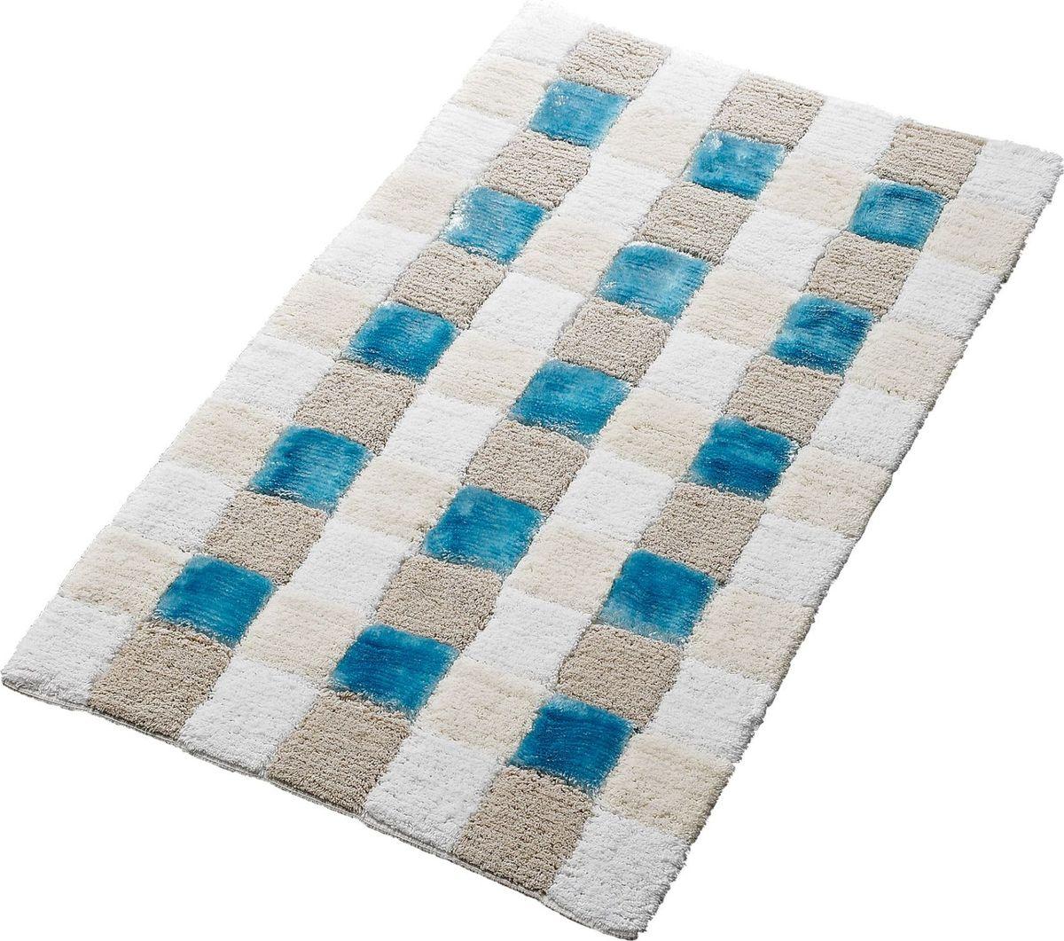 Коврик для ванной Ridder Carre, цвет: белый, голубой, 70 х 120 см carre j the night manager