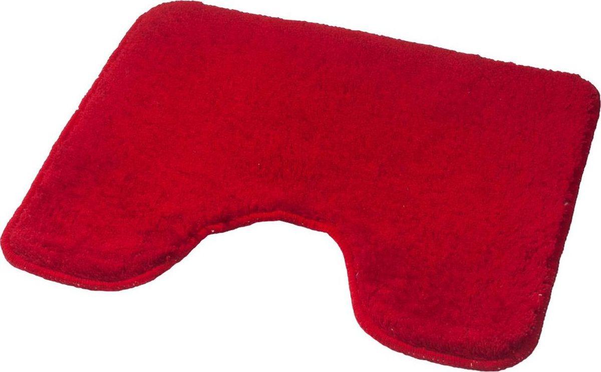 """Коврик для ванной Ridder """"Palma"""", с вырезом, цвет: красный, 55 х 49 см"""