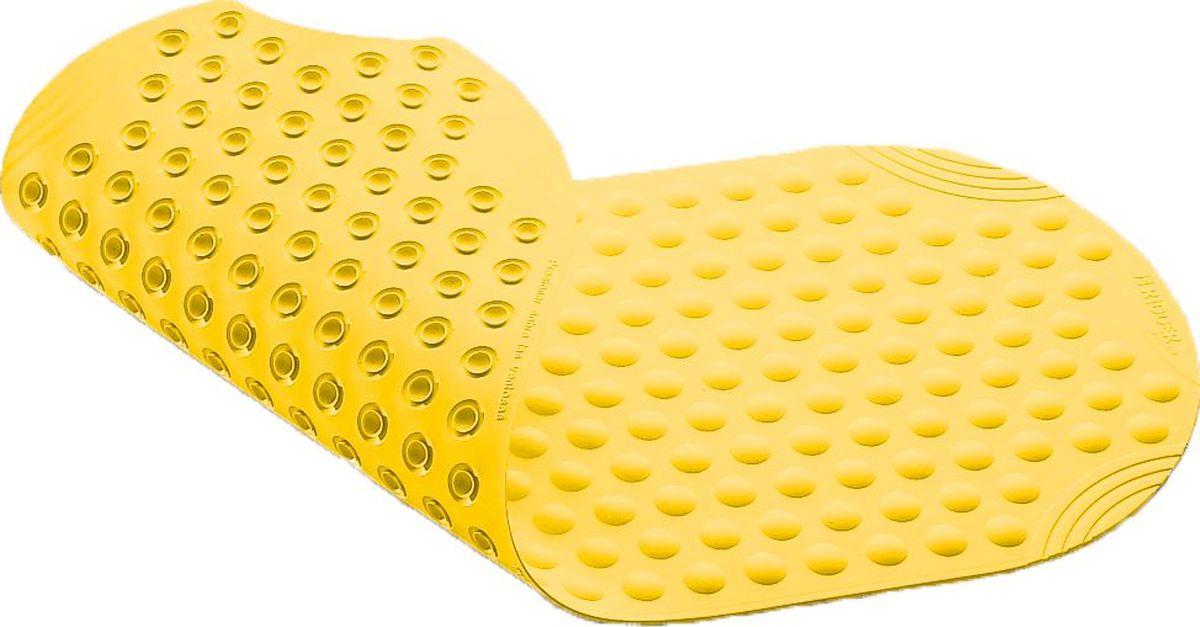 """Коврик для ванной Ridder """"Tecno"""", противоскользящий, на присосках, цвет: желтый, 38 х 89 см"""