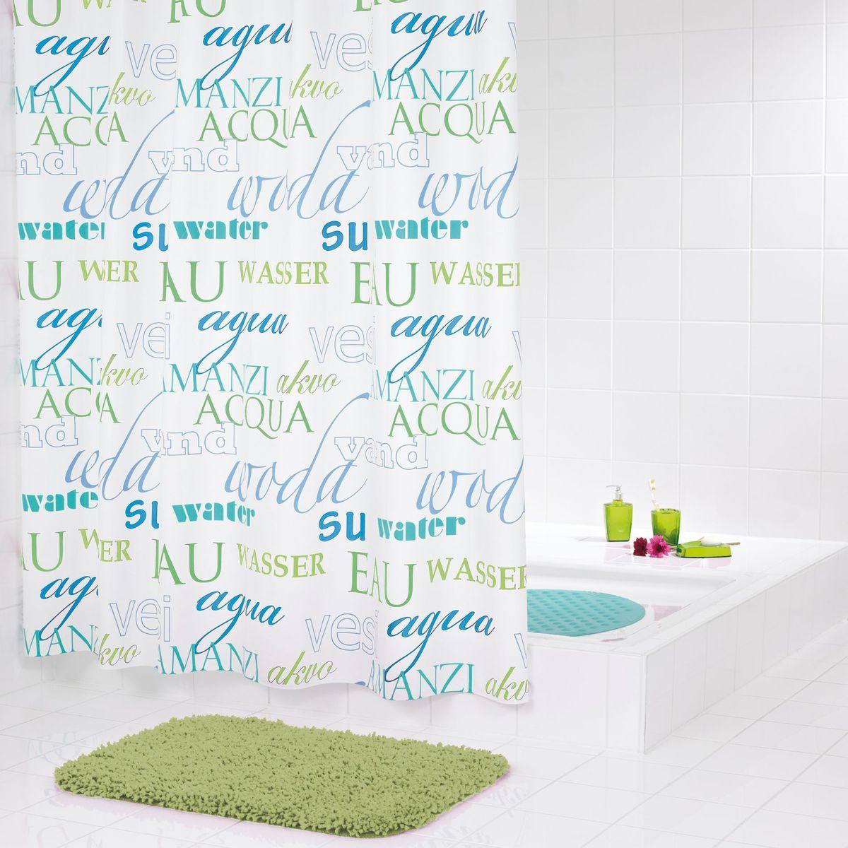 Штора для ванной комнаты Ridder Woda, цвет: синий, голубой, 180 х 200 см штора для ванной комнаты ridder helgoland цвет синий голубой 240 х 180 см