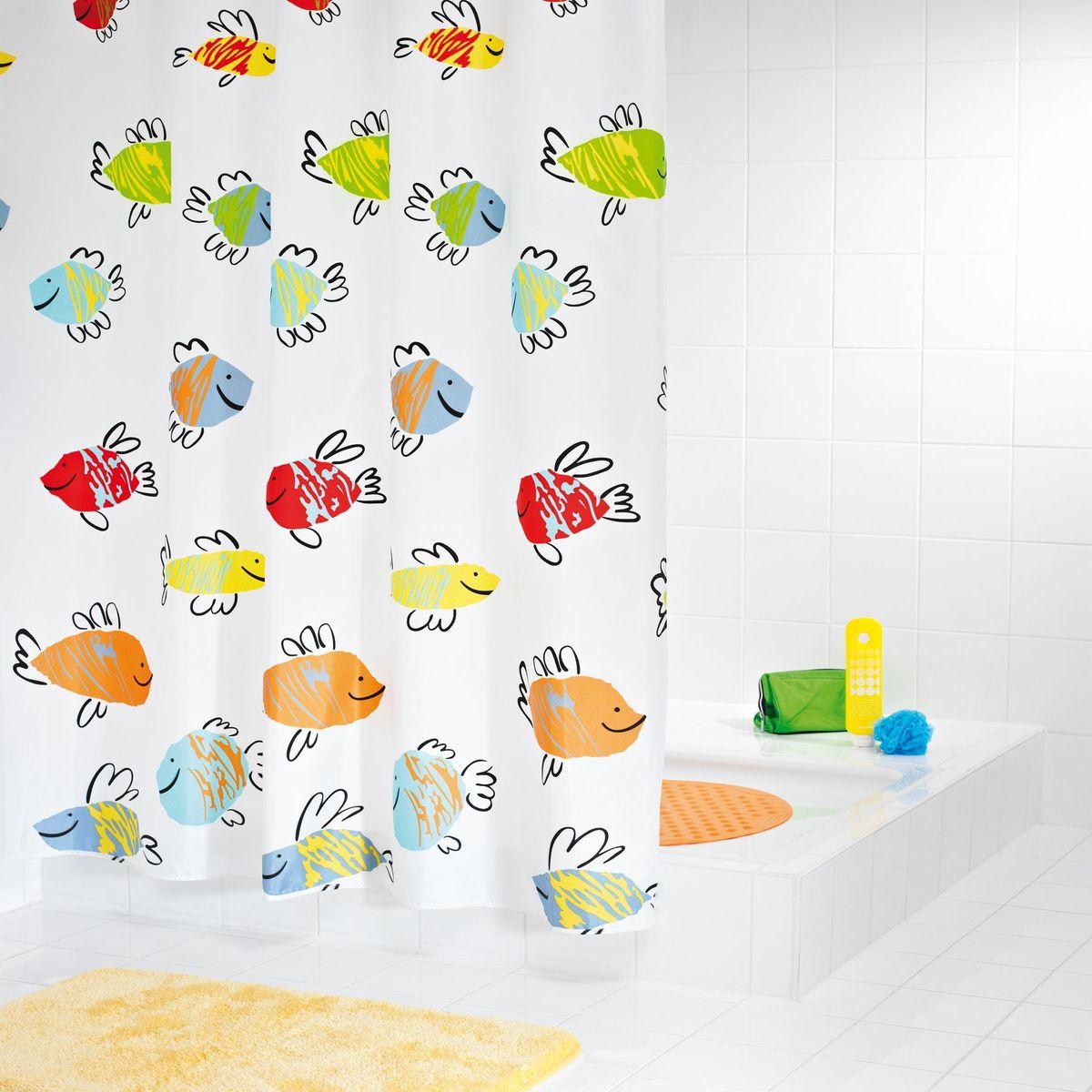 Штора для ванной комнаты Ridder Malawi, цвет: белый, мультиколор, 180 х 200 см штора для ванной комнаты ridder helgoland цвет синий голубой 240 х 180 см