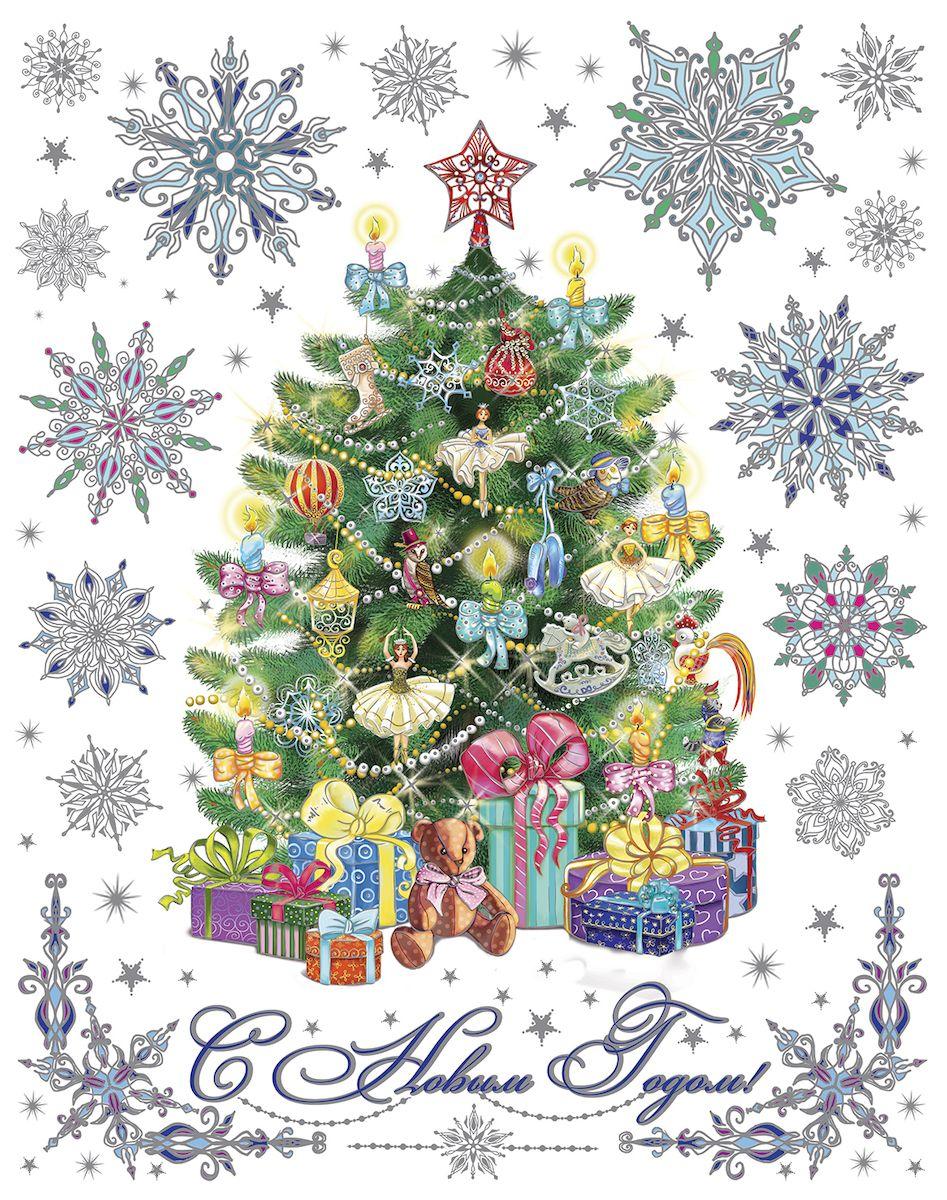 Украшение новогоднее оконное Magic Time Пушистая елочка, 30 х 38 см украшение новогоднее оконное magic time снегурочка и зверята 30 х 38 см
