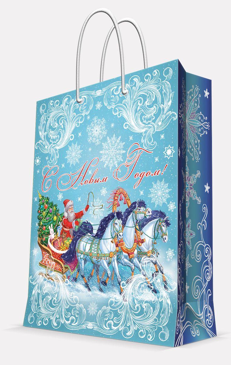 Пакет подарочный пакет Magic Time Дед Мороз на тройке, 40,6 х 48,9 х 19 см пакет подарочный magic time дед мороз и дети 26 х 32 4 х 12 7 см