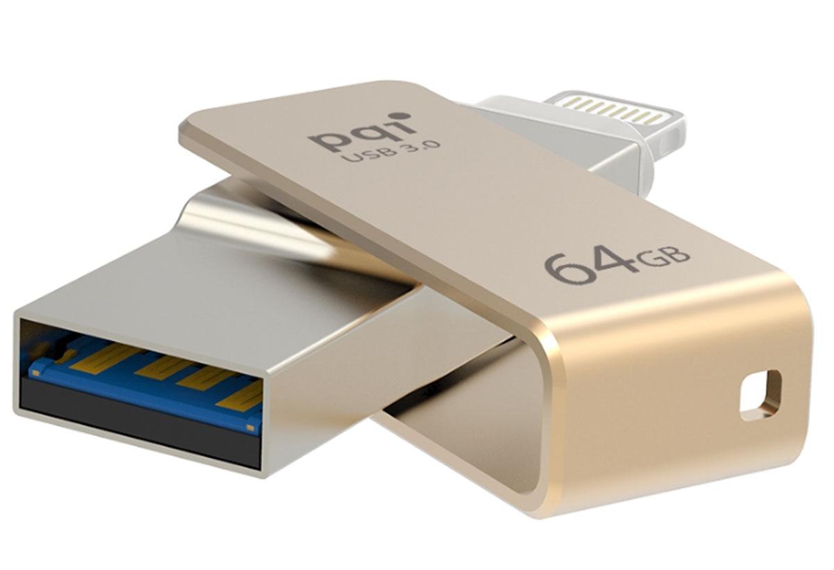 PQI iConnect mini 64GB, Gold флеш-накопитель