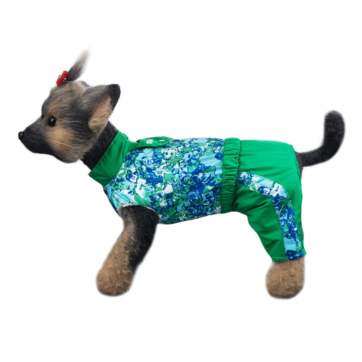 Комбинезон для собак Dogmoda Грин, унисекс, цвет: зеленый, синий, белый. Размер 1 (S) комбинезон для собак dogmoda мегаполис унисекс цвет синий размер xxl