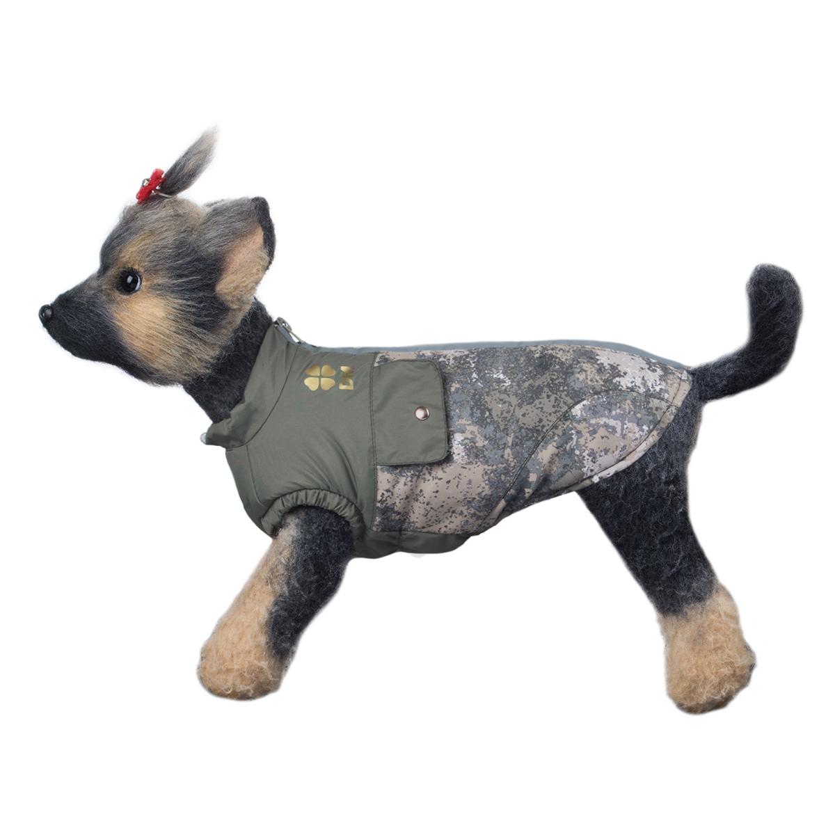 """Куртка для собак Dogmoda """"Классик"""", унисекс, цвет: серый, светло-коричневый, серо-зеленый. Размер 3 (L)"""