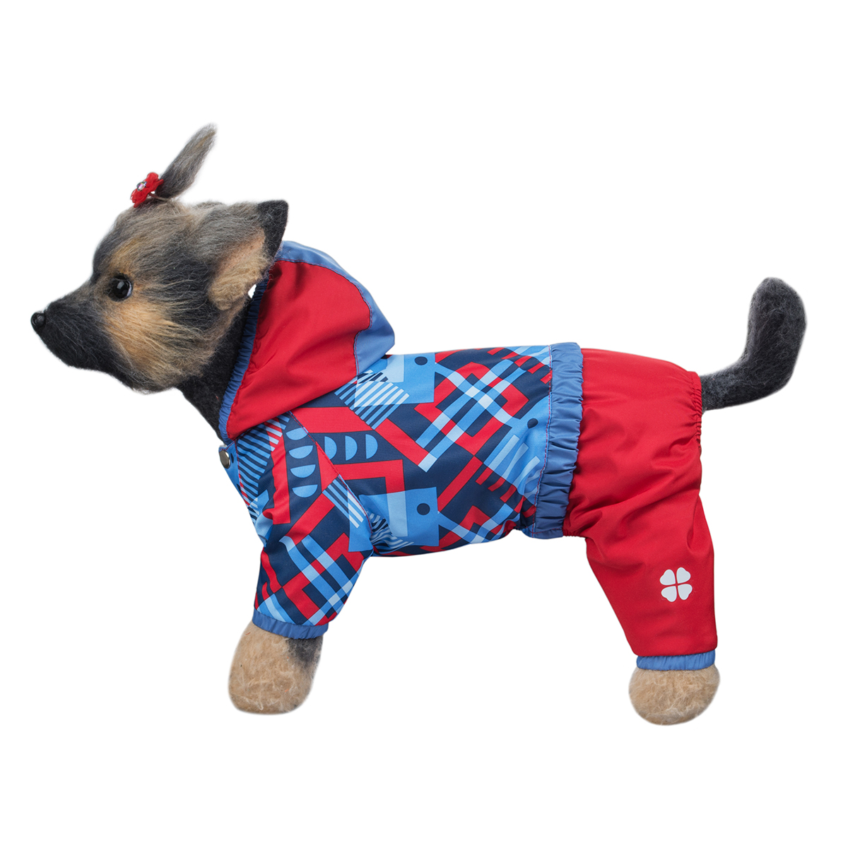 """Комбинезон для собак Dogmoda """"Прогулочный"""", для девочки, цвет: голубой, красный. Размер 4 (XL)"""