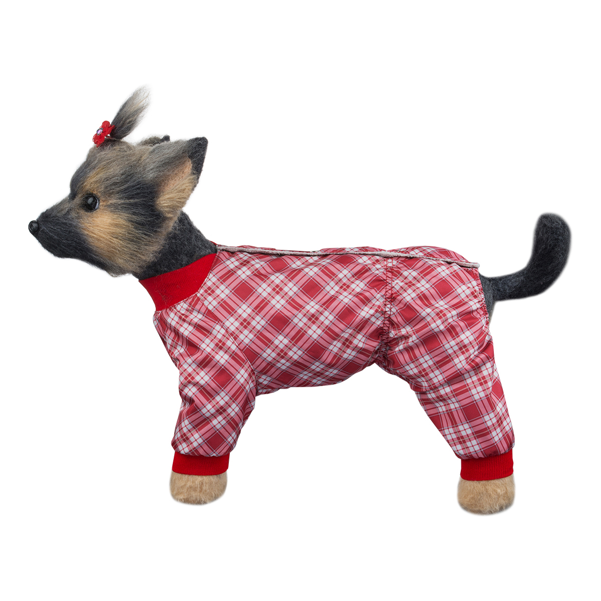 """Комбинезон для собак Dogmoda """"Клетка"""", для девочки, цвет: красный, белый. Размер 1 (S)"""