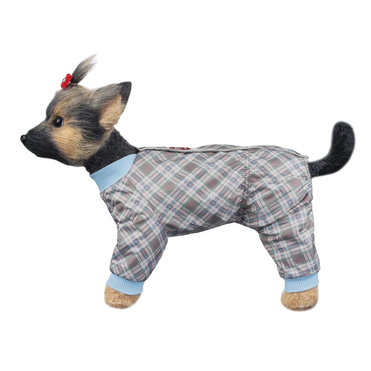 """Комбинезон для собак Dogmoda """"Клетка"""", унисекс, цвет: голубой, серый, коричневый. Размер 4 (XL)"""