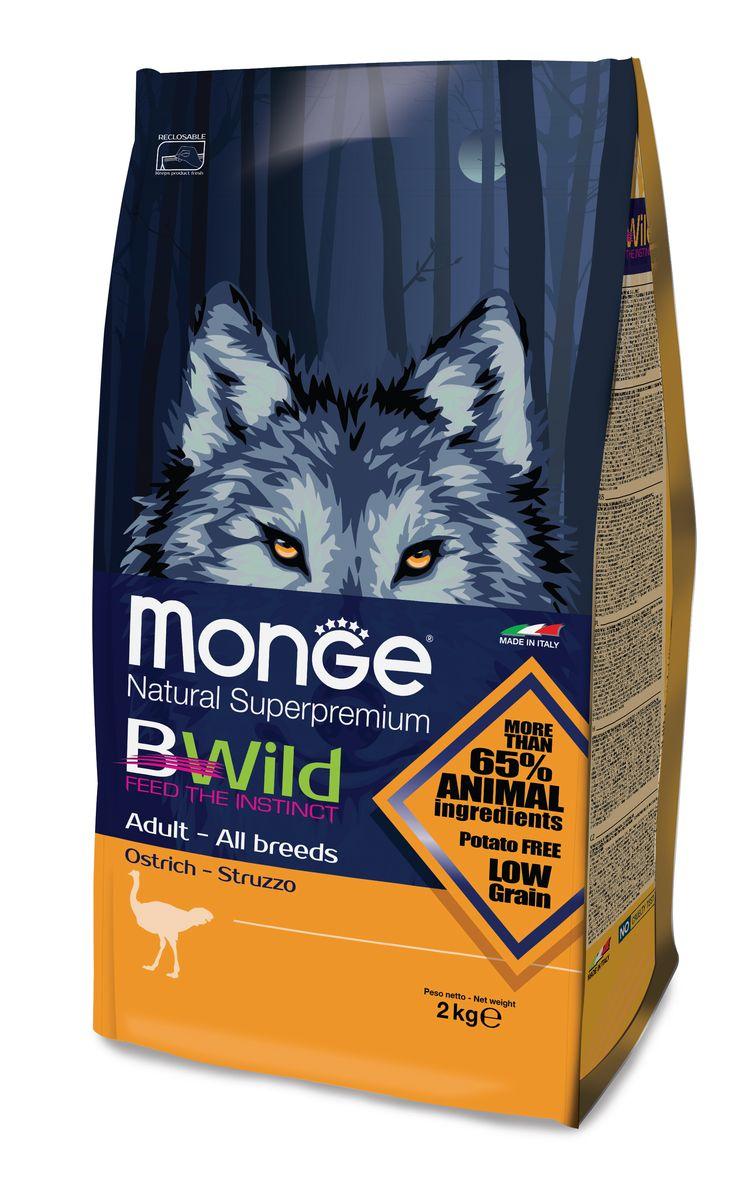 """Корм сухой Monge """"Bwild Dog Ostrich"""", для взрослых собак всех пород, с мясом страуса, 2 кг"""
