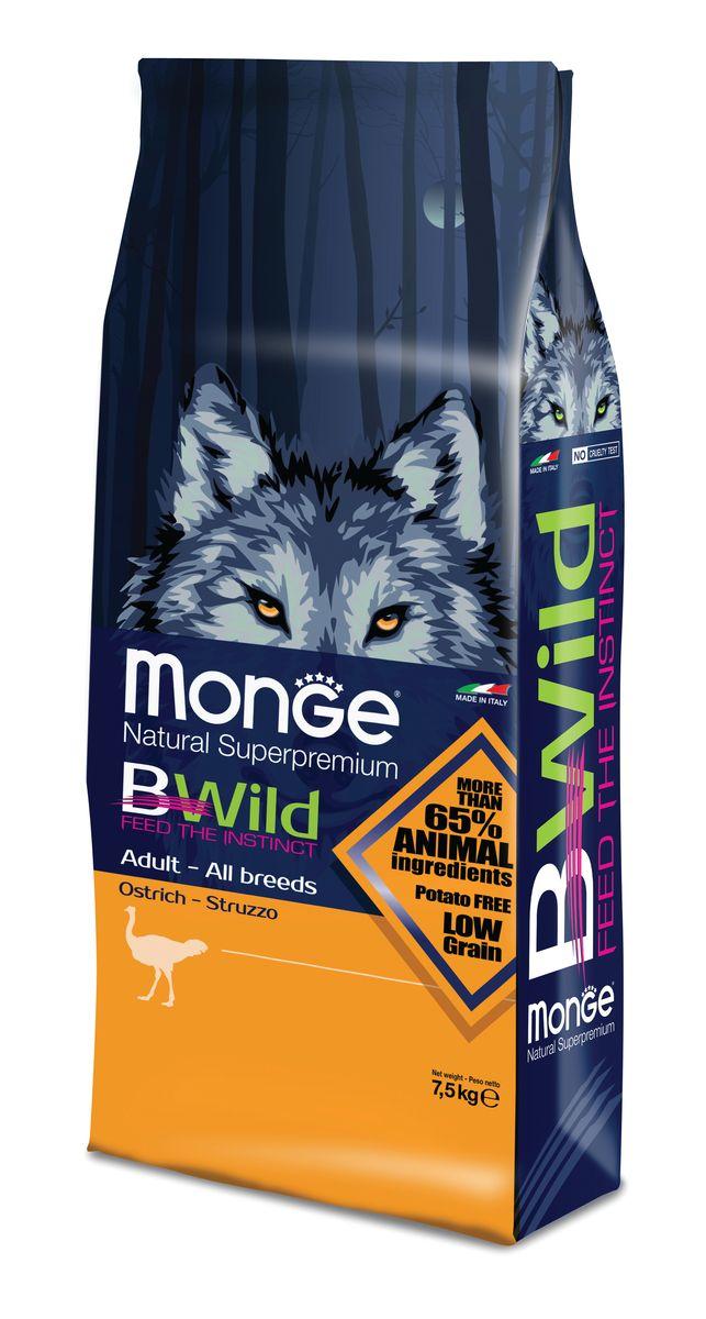"""Корм сухой Monge """"Bwild Dog Ostrich"""", для взрослых собак всех пород, с мясом страуса, 7,5 кг"""