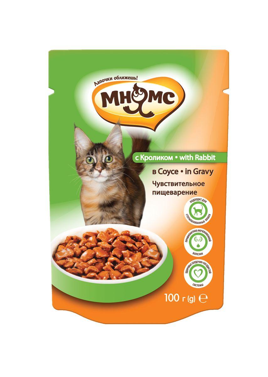 """Консервы для взрослых кошек Мнямс """"Чувствительное пищеварение"""", в соусе, с кроликом, 100 г"""