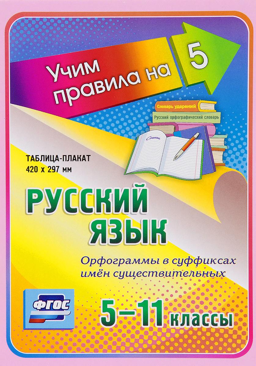 Русский язык. Орфограммы в суффиксах имен существительных. 5-11 классы. Таблица-плакат