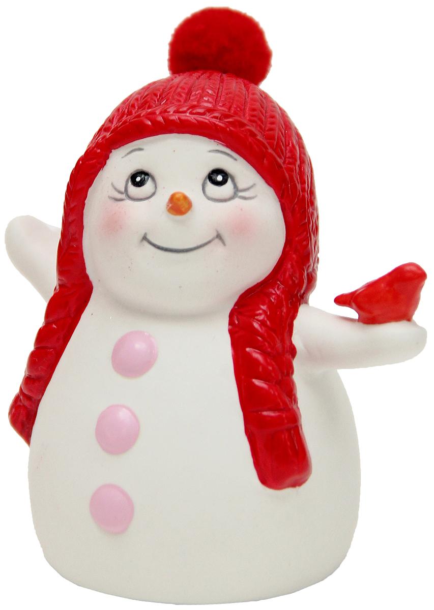 Фигурка новогодняя Magic Time Снеговик со снегирем, высота 8 см фигурка новогодняя magic time снеговик и список подарков высота 8 см