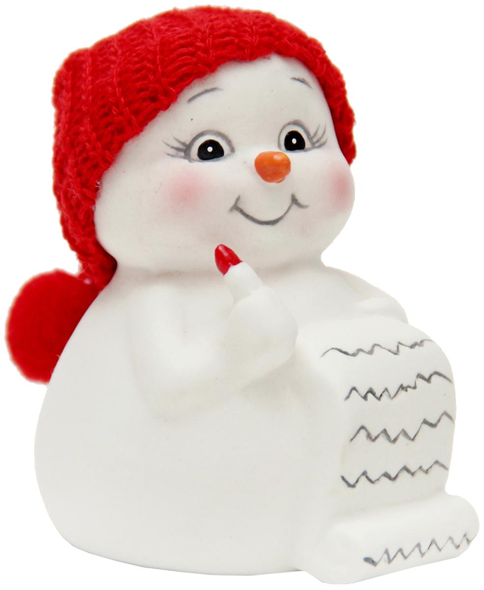 """Фигурка новогодняя Magic Time """"Снеговик и список подарков"""", высота 8 см"""