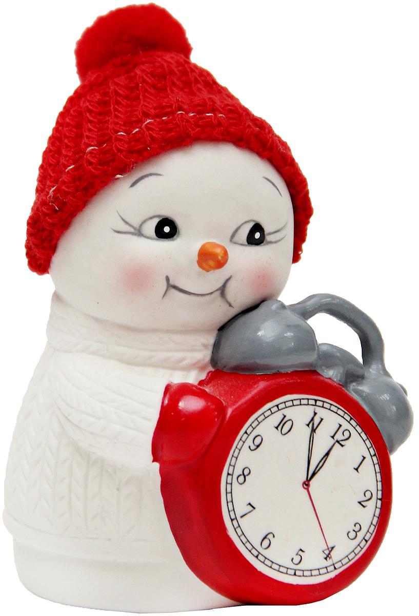 Фигурка новогодняя Magic Time Снеговик и часы, высота 8 см фигурка новогодняя magic time снеговик и список подарков высота 8 см