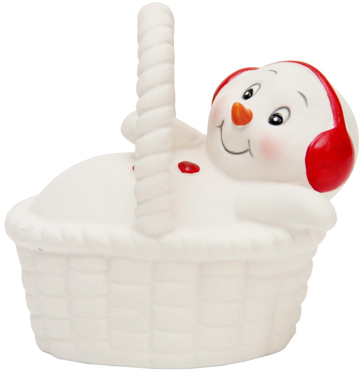 Фигурка новогодняя Magic Time Снеговик в корзине, высота 8 см фигурка новогодняя magic time снеговик и список подарков высота 8 см