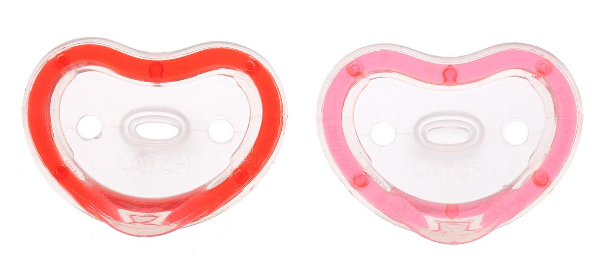 Munchkin Пустышка силиконовая ортодонтическая Latch от 3 до 6 месяцев цвет красный розовый 2 шт munchkin контейнер для сухих смесей latch munchkin