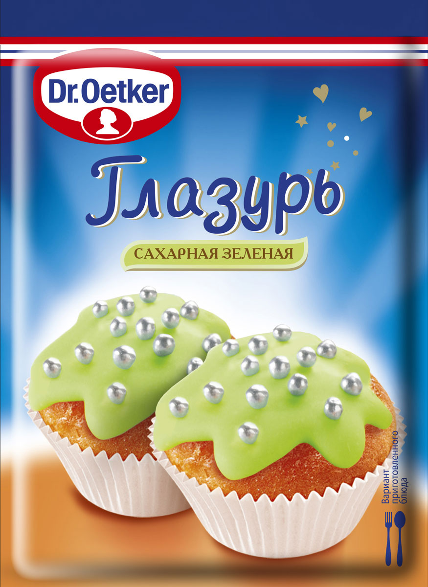 Dr.Oetker Глазурь сахарная зеленая, 100 г пудовъ сахарная глазурь голубая 100 г