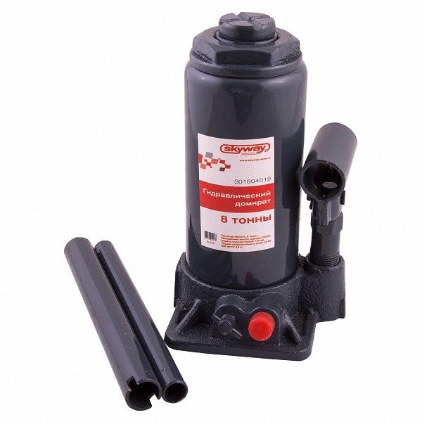 Домкрат бутылочный Skyway, гидравлический, с клапаном, 8 т, высота 200-385 мм. S01804018