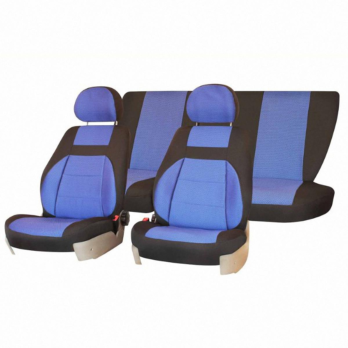 """Чехлы автомобильные """"Skyway"""", для ВАЗ-2107, жаккард, цвет: синий, черный"""