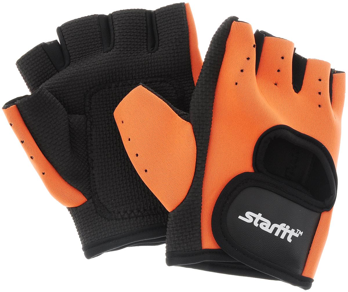 Перчатки для фитнеса Starfit SU-107, цвет: оранжевый, черный. Размер L бриджи сауна starfit sw 301 цвет серый размер l