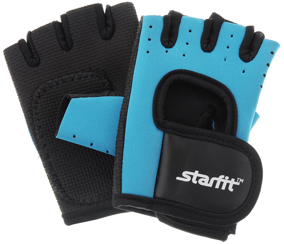 Перчатки для фитнеса STARFIT SU-107, синий/черный толстовка мужская karff цвет черный синий 93031 04 размер xl 54