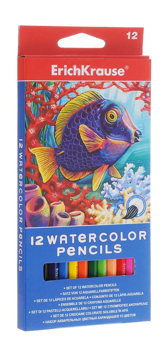 Акварельные карандаши шестигранные ArtBerry, с кисточкой, 12 цветов erich krause набор цветных акварельных карандашей с кисточкой 12 шт