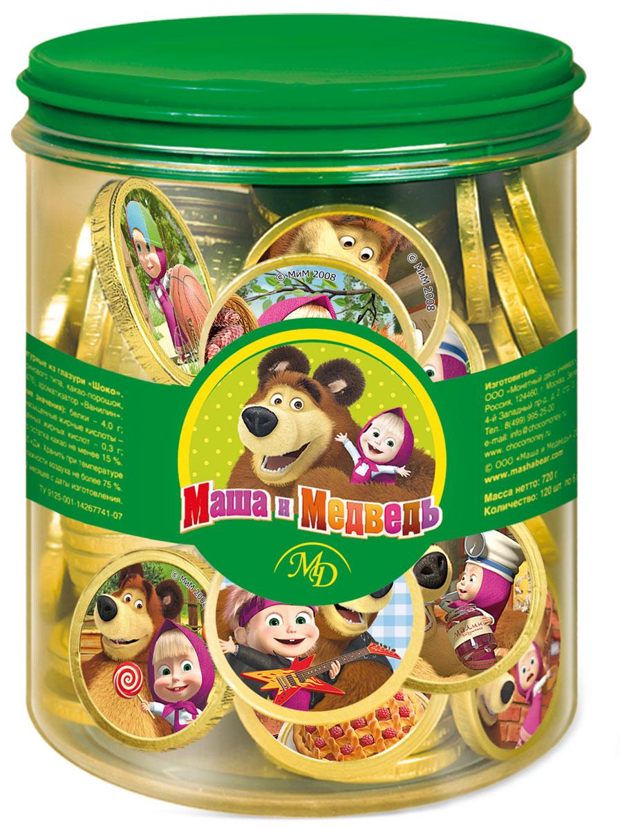 Монетный двор Маша и Медведь шоколадные монетные, 120х6 г (пластиковая банка) цена