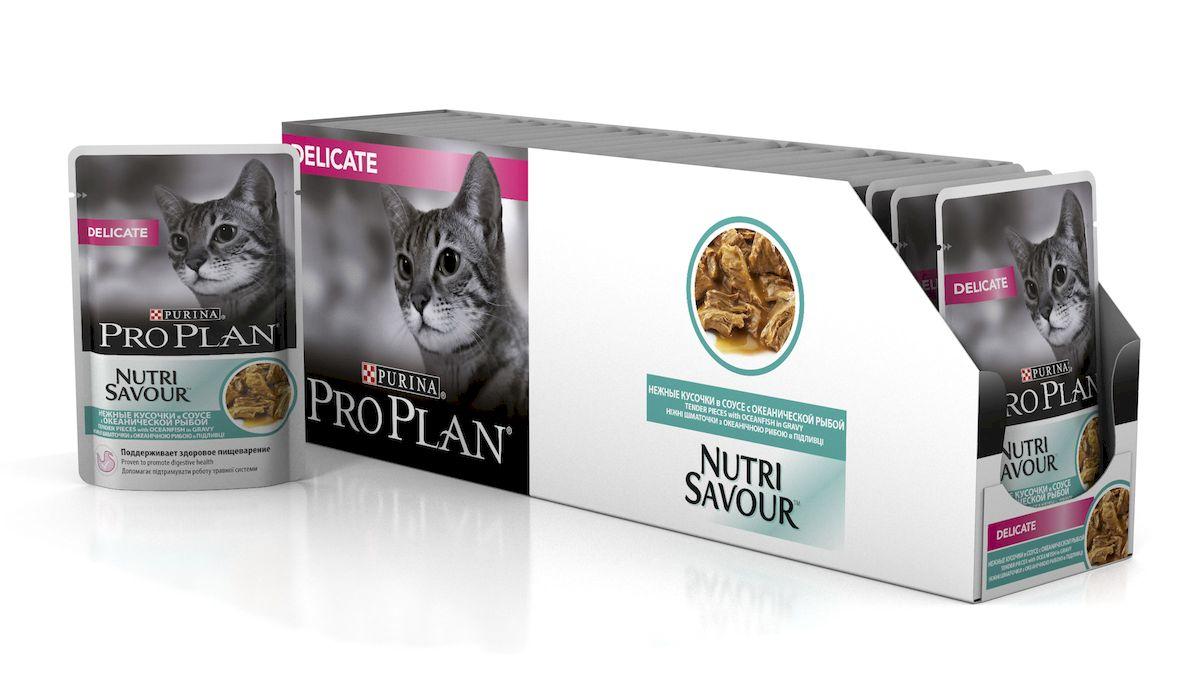 Фото - Консервы Pro Plan Nutri Savour, для кошек с чувствительным пищеварением, в соусе,с океанической рыбой, 85 г, 24 шт консервы pro plan для стерилизованных кошек с океанической рыбой в соусе 24 шт x 85 г