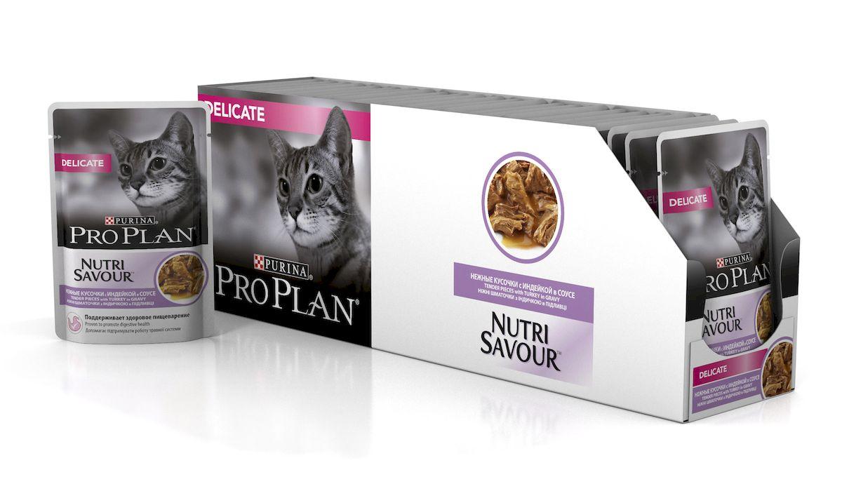 Фото - Консервы Pro Plan Nutri Savour, для кошек с чувствительным пищеварением, с индейкой, 85 г, 24 шт консервы pro plan для взрослых кошек с уткой в соусе 24 шт x 85 г