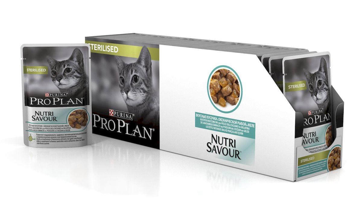 Консервы диетические Pro Plan Nutrisavour Adult, для стерилизованных кошек, в желе, с океанической рыбой, 85 г, 24 шт консервы purina pro plan для стерилизованных кошек и кастрированных котов океаническая рыба в желе пауч 85 г 12287097