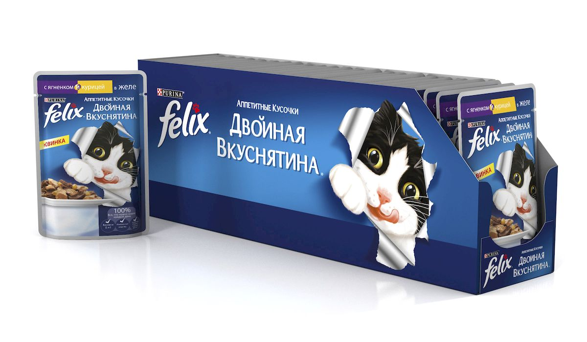 """Консервы для кошек """"Felix"""", аппетитные кусочки с курицей и ягненком в желе, 85 г, 24 шт"""