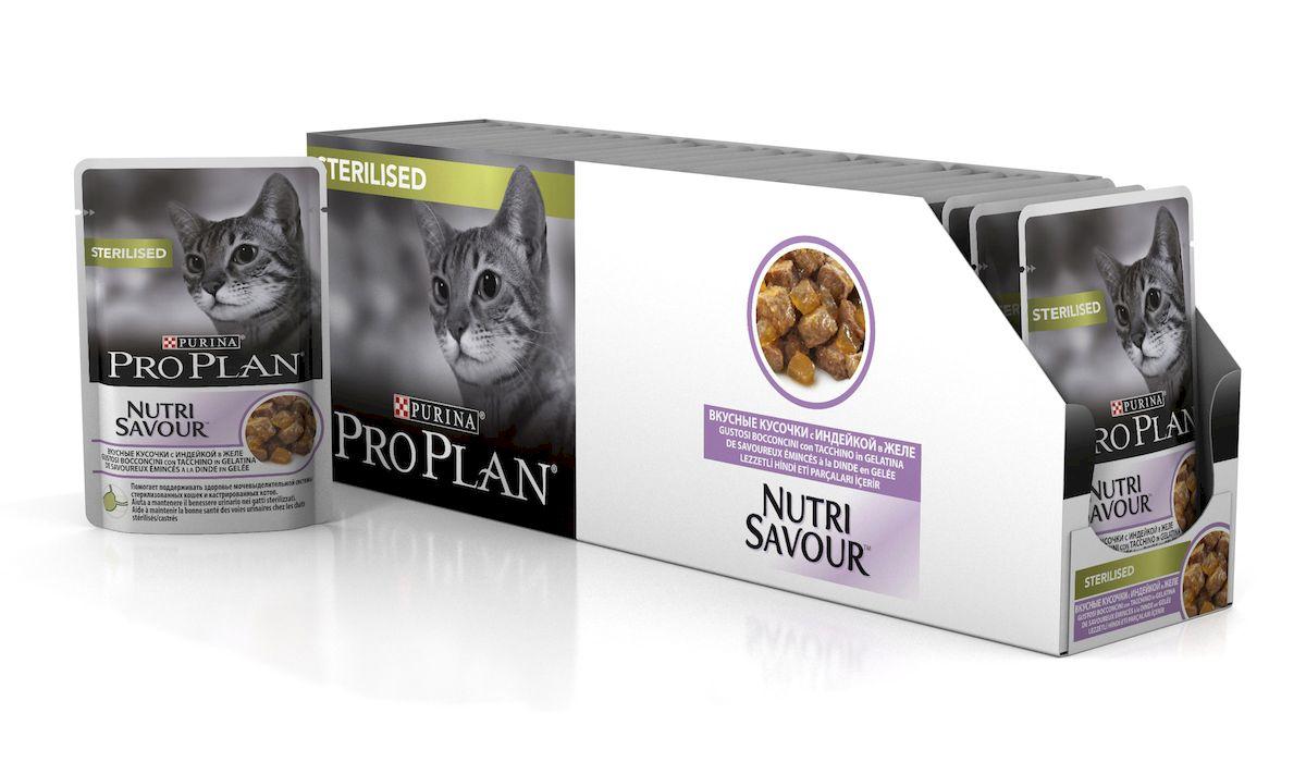"""Консервы Pro Plan """"Nutri Savour"""", для стерилизованных кошек и кастрированных котов, с индейкой в желе, 85 г, 24 шт"""