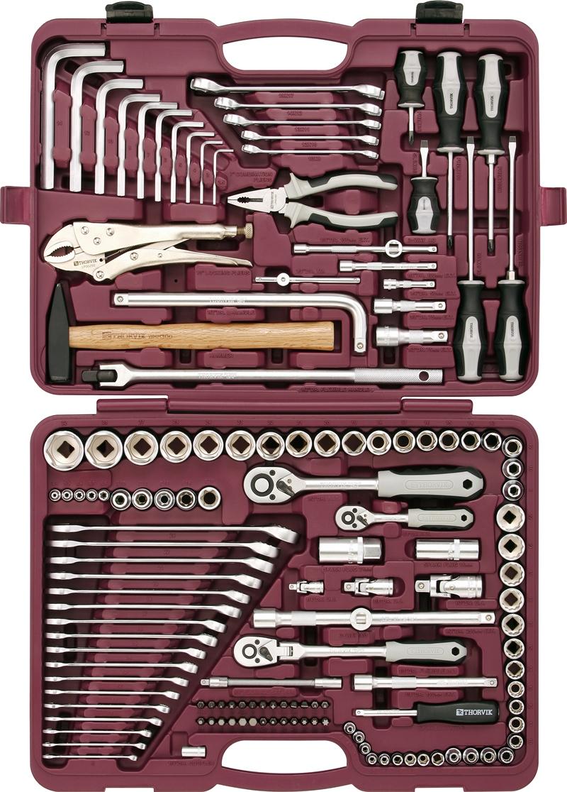 Набор инструментов Thorvik, универсальный 1/4, 3/8 и 1/2DR, 142 предмета набор шариковых ручек action dragons 3 шт dr abp151 3 dr abp151 3
