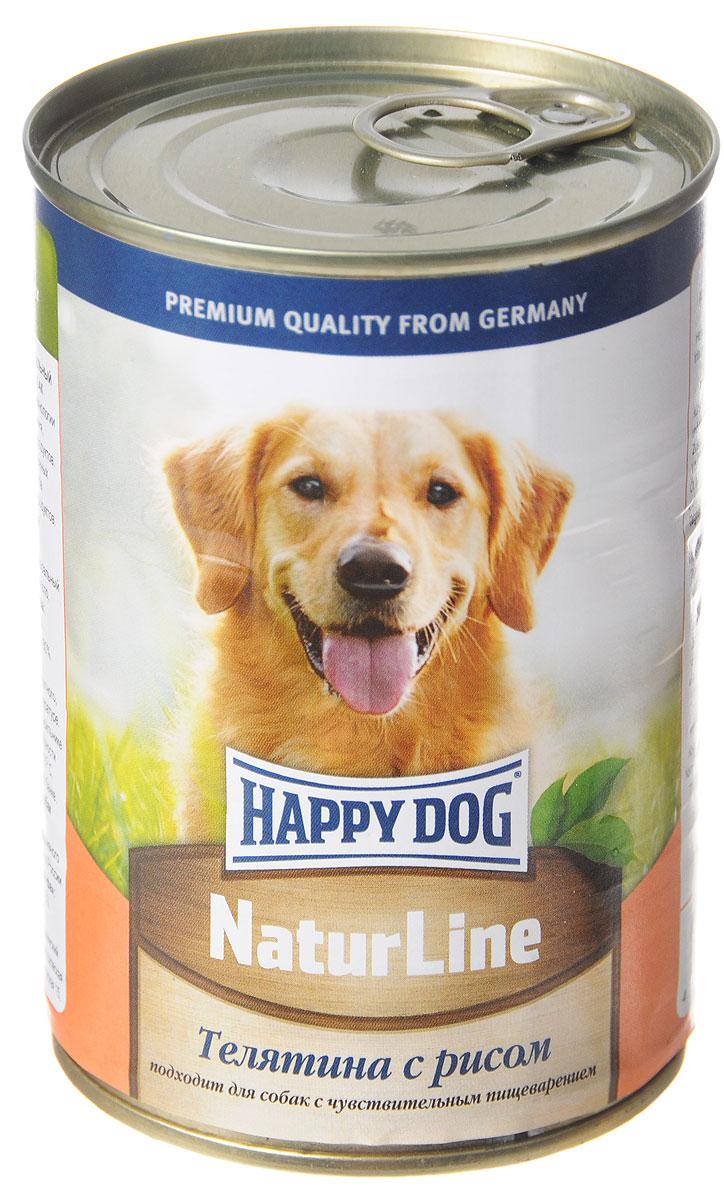 Консервы для собак Happy Dog Natur line, с телятиной и рисом, 400 г консервы happy dog natur line кролик для собак 85г 71499
