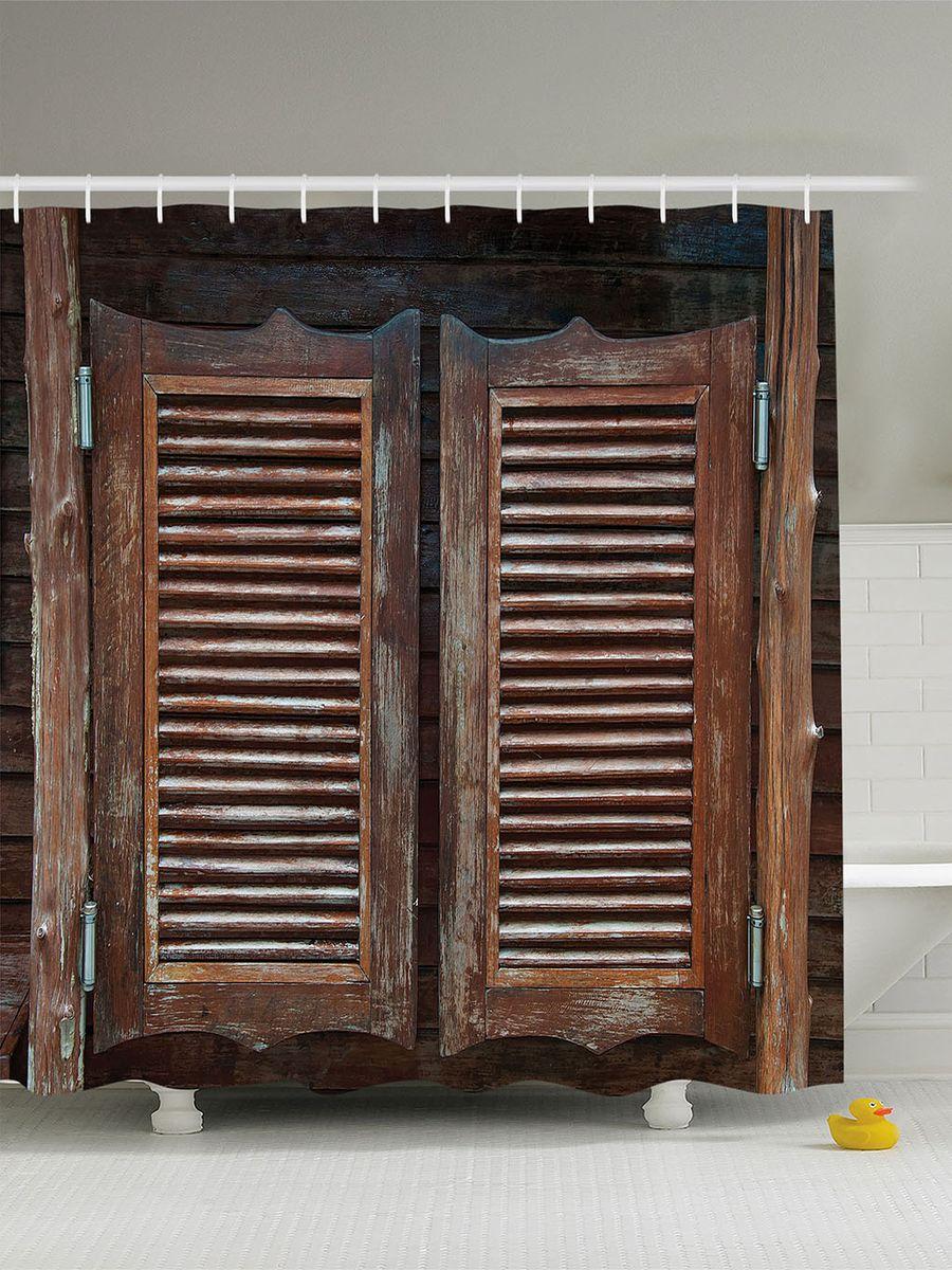 Штора для ванной комнаты Magic Lady Деревянные двери таверны, 180 х 200 см штора для ванной комнаты magic lady кроны над морем 180 х 200 см