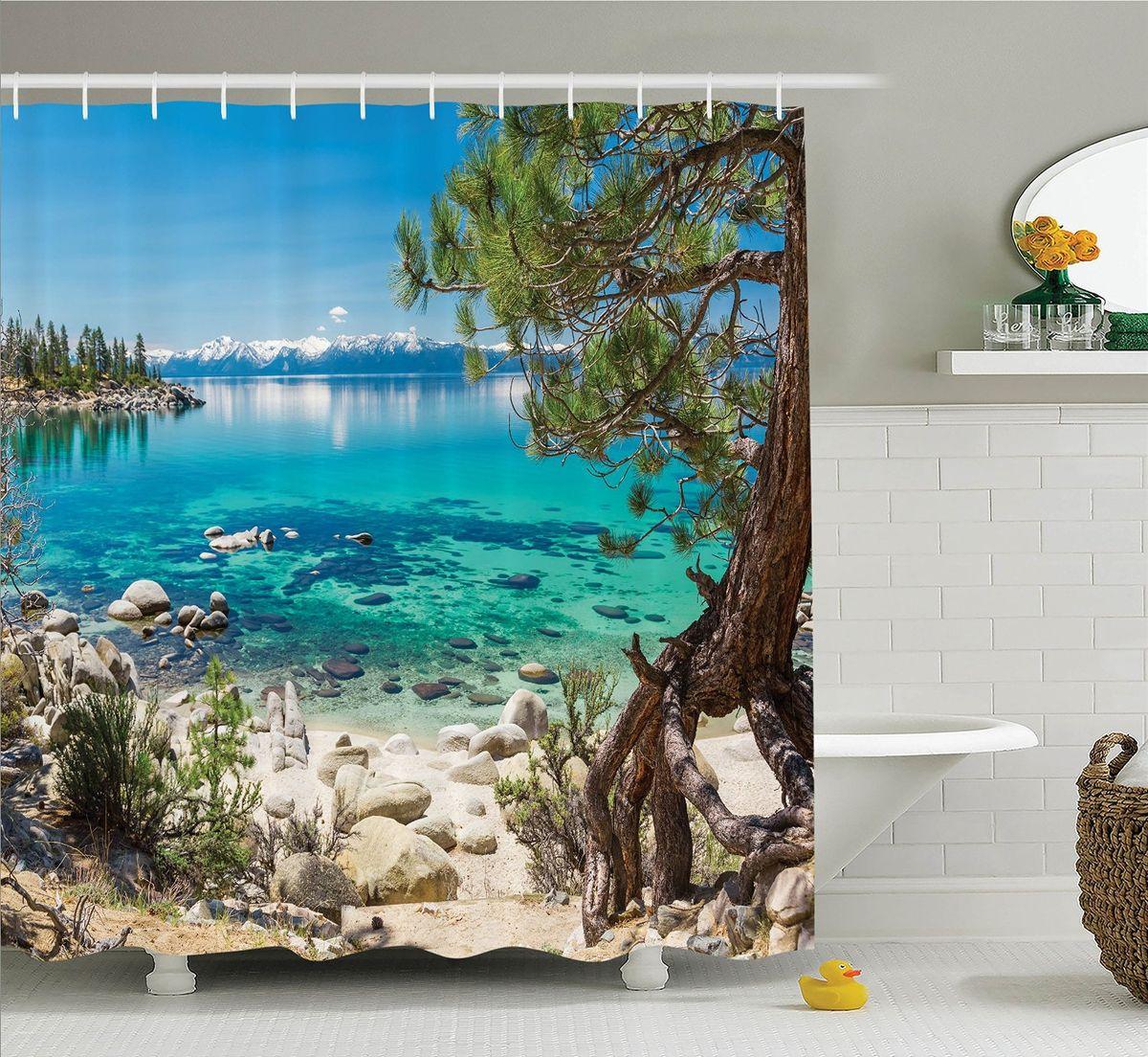 Штора для ванной комнаты Magic Lady Сосна на морском берегу, 180 х 200 см штора для ванной комнаты magic lady кроны над морем 180 х 200 см