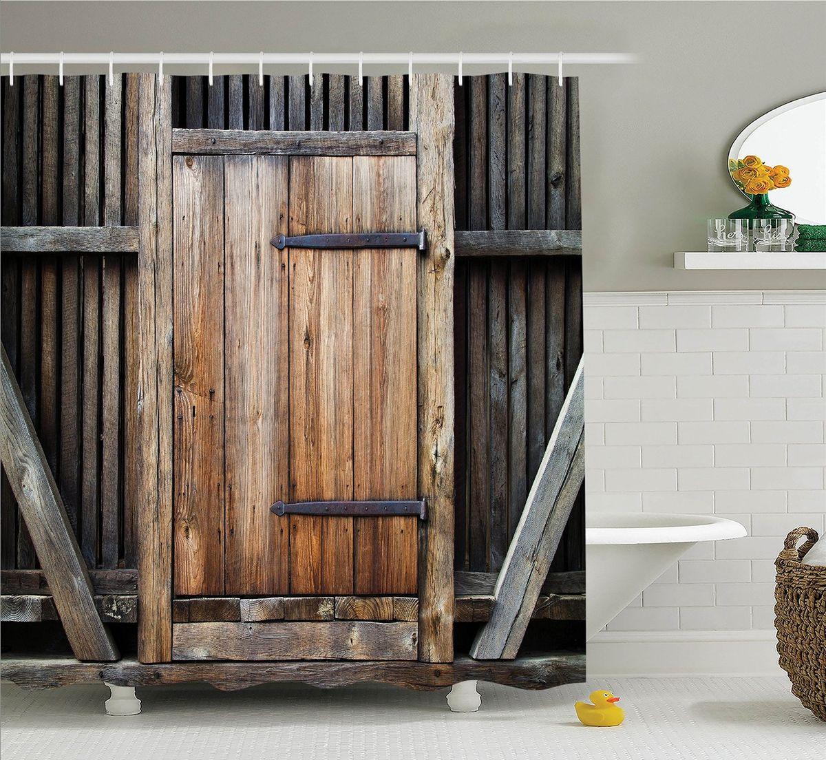 Штора для ванной комнаты Magic Lady Деревянная дверь, 180 х 200 см для ванной дверь