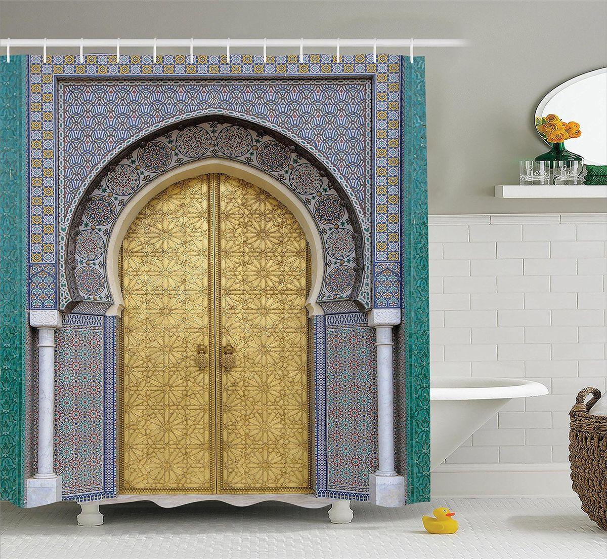 Штора для ванной комнаты Magic Lady Дверь с арабскими узорами, 180 х 200 см для ванной дверь