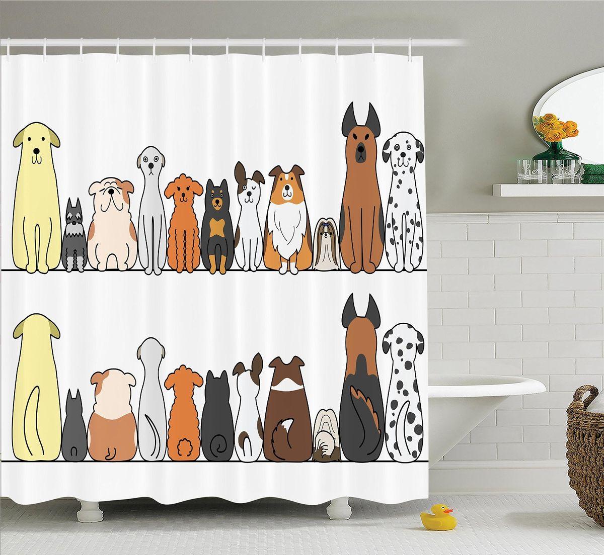 Штора для ванной комнаты Magic Lady Милые собаки, 180 х 200 см штора для ванной комнаты magic lady разноцветные бабочки 180 х 200 см