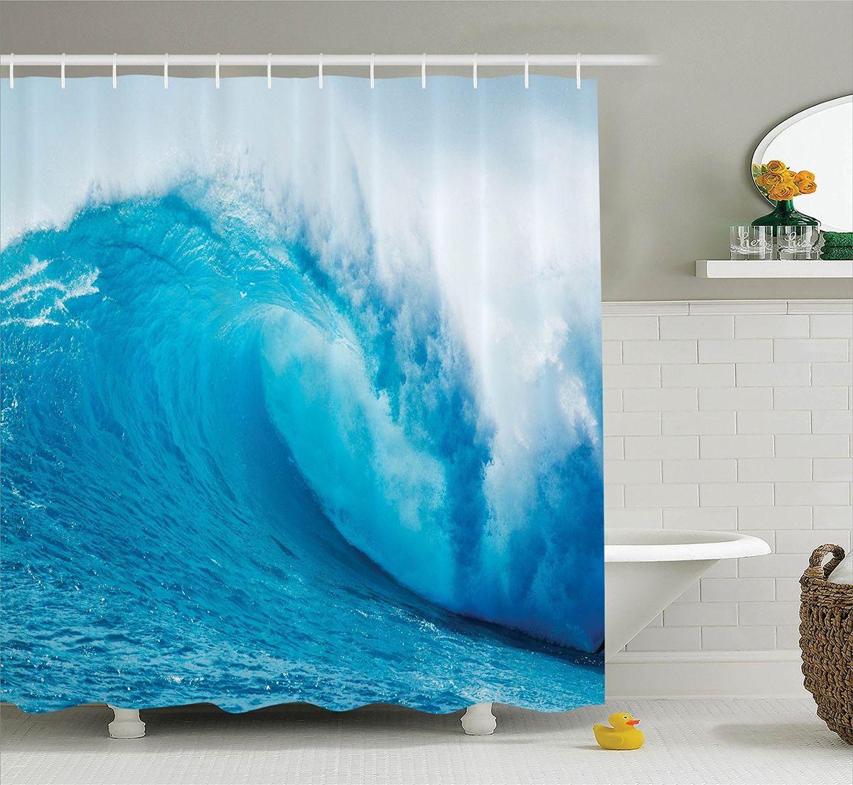 Штора для ванной комнаты Magic Lady Голубая волна, 180 х 200 см штора для ванной комнаты magic lady дерево в волшебном лесу цвет коричневый оранжевый 180 х 200 см