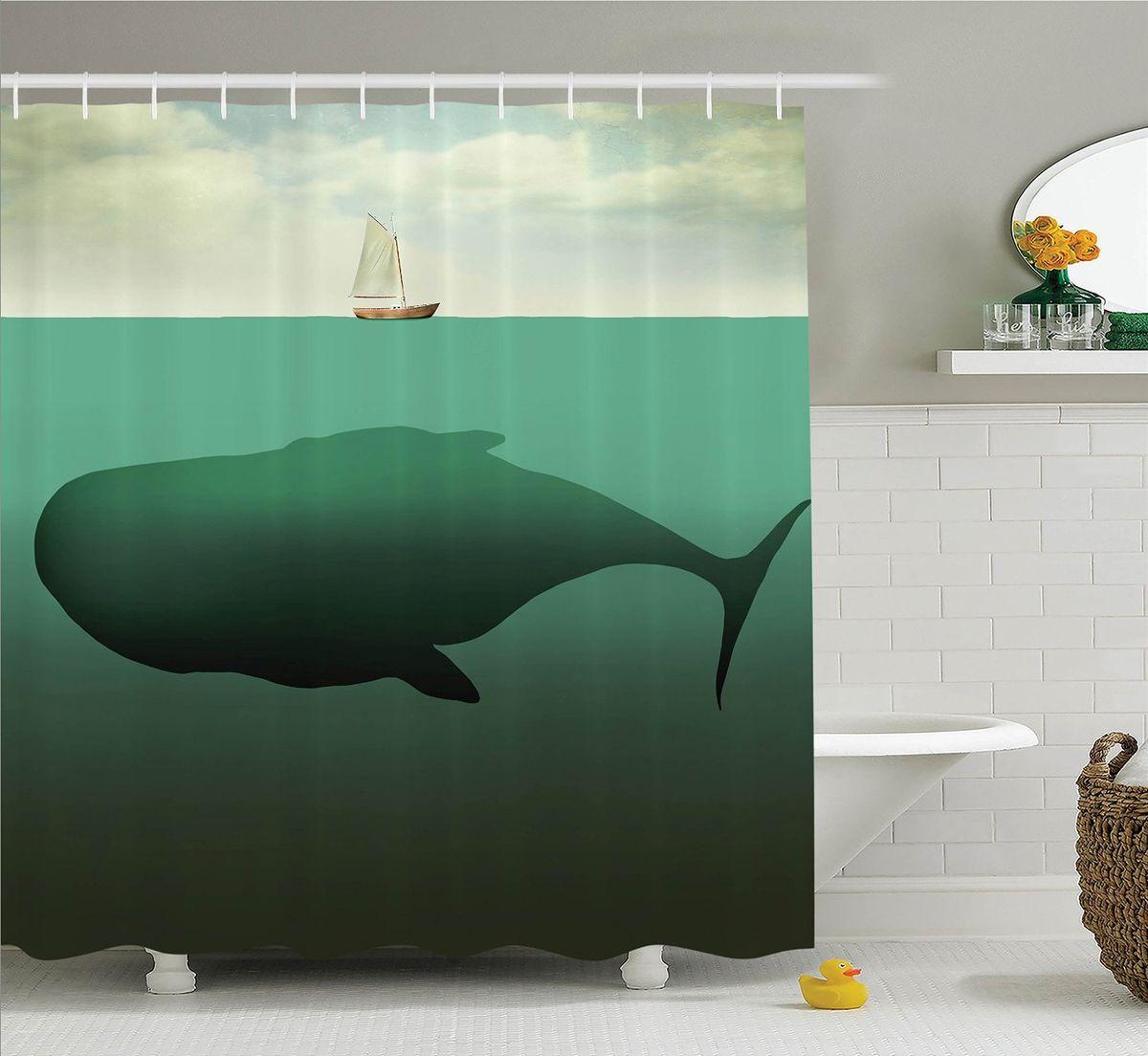 Штора для ванной комнаты Magic Lady Гигантский кит, 180 х 200 см штора для ванной комнаты magic lady дерево в волшебном лесу цвет коричневый оранжевый 180 х 200 см href