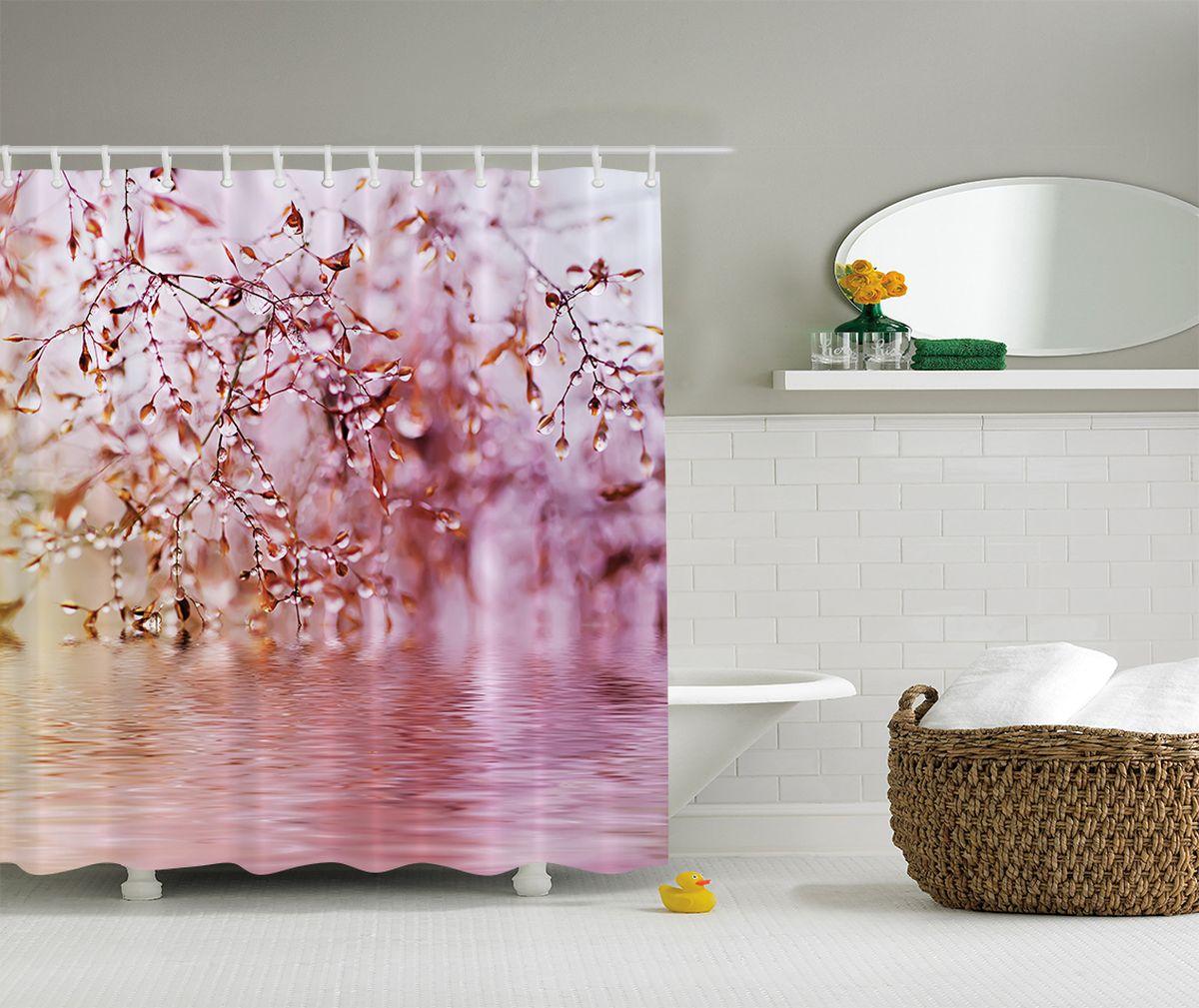 Штора для ванной комнаты Magic Lady Капли дождя, 180 х 200 см штора для ванной комнаты magic lady разноцветные бабочки 180 х 200 см