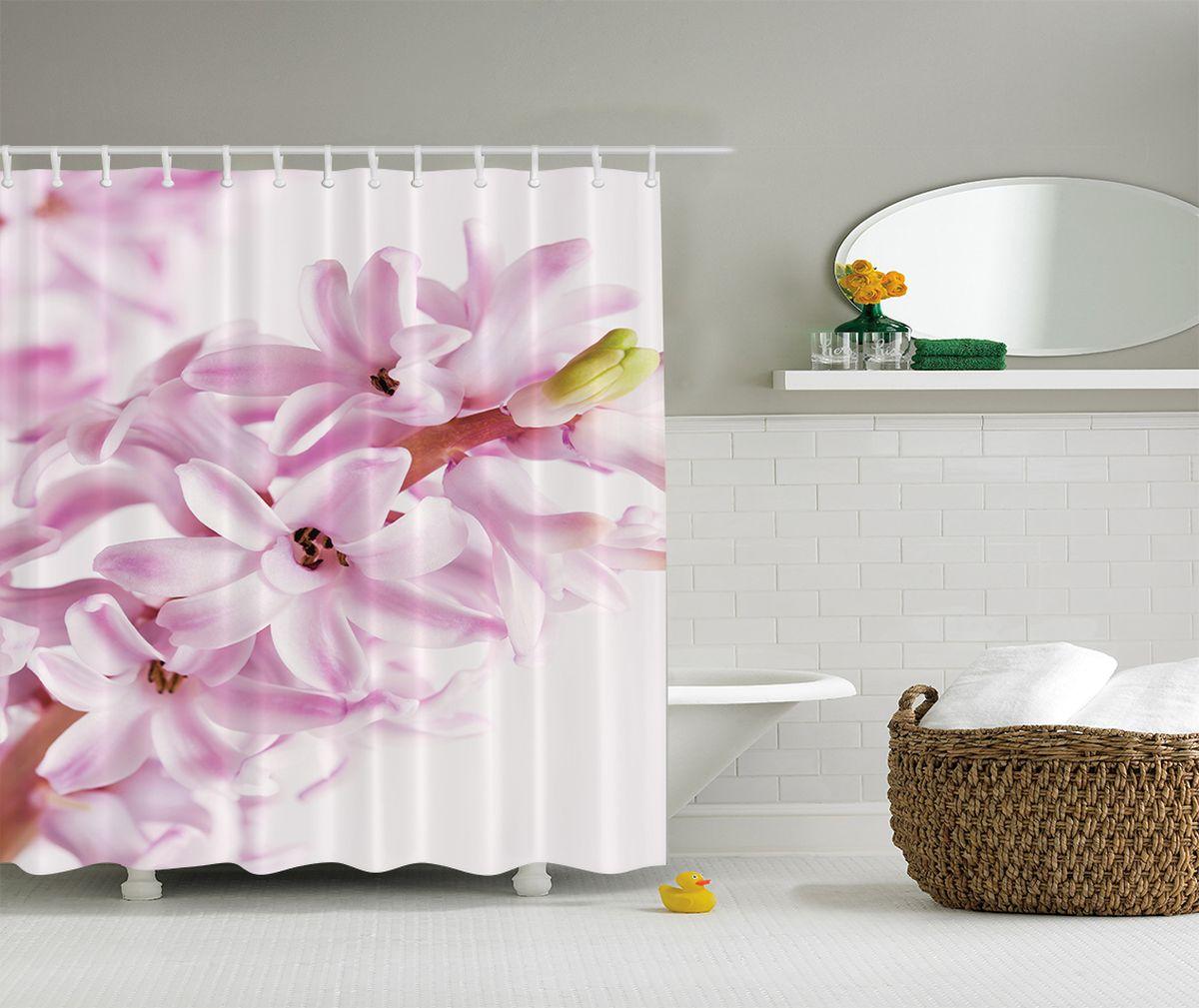 Штора для ванной комнаты Magic Lady Гиацинт, 180 х 200 см штора для ванной комнаты magic lady разноцветные бабочки 180 х 200 см