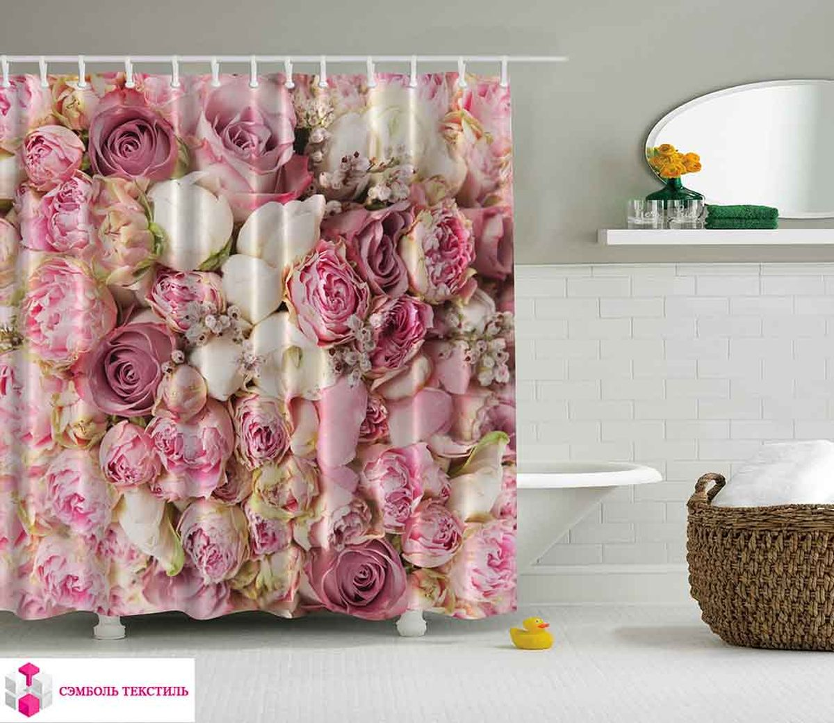 Штора для ванной комнаты Magic Lady Бутоны роз, 180 х 200 см штора для ванной комнаты magic lady дерево в волшебном лесу цвет коричневый оранжевый 180 х 200 см